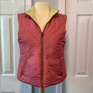 CAbi pink and yellow reversible puffy vest